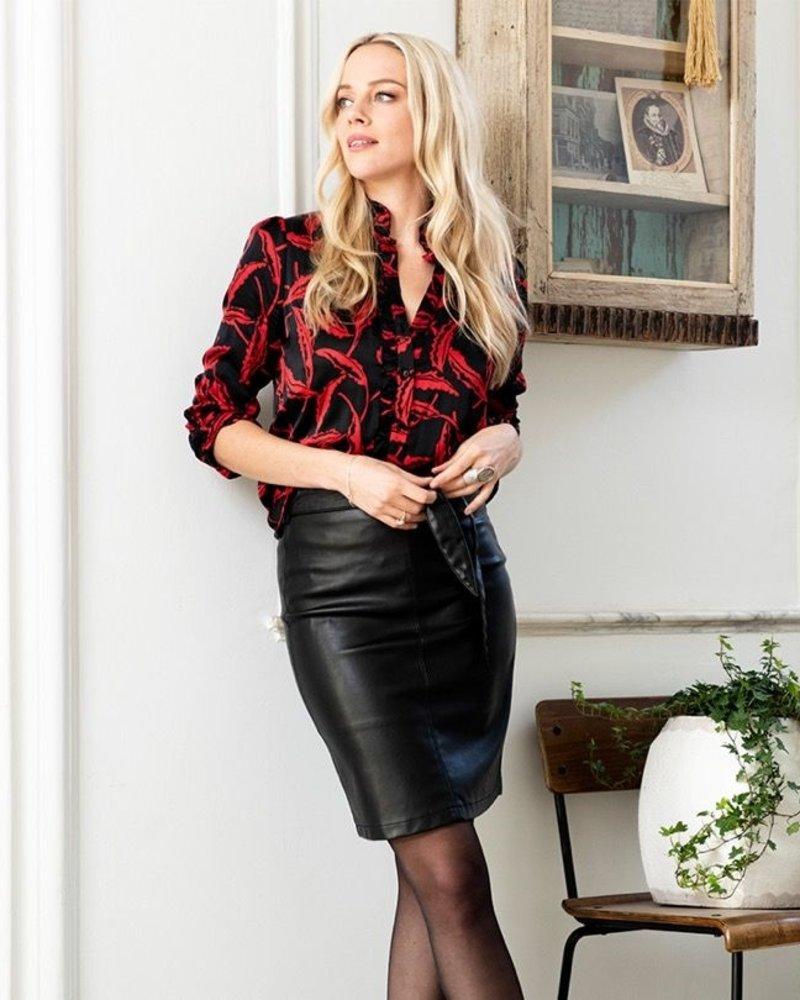 ESQUALO W20.04703 Skirt PU short belt black