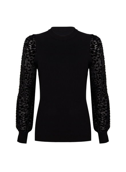 ESQUALO W20.07719 Sweater lace sleeve black