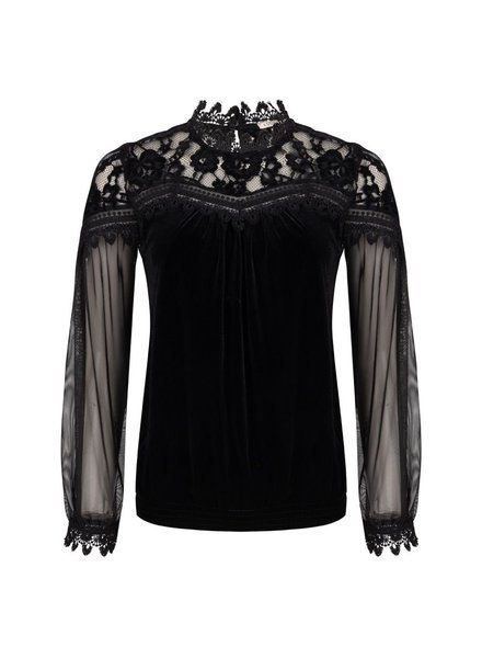 ESQUALO W20.05718 Blouse velours lace black