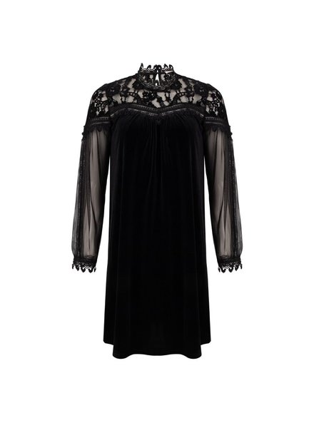 ESQUALO W20.05717 Dress velours lace black