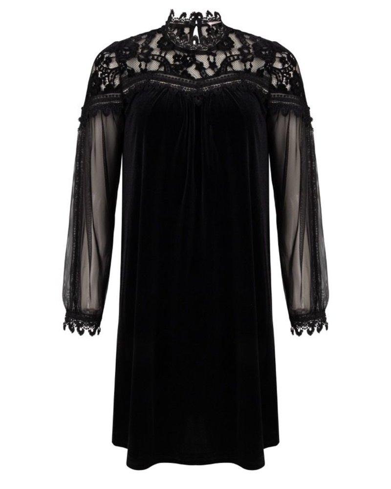 ESQUALO W20.05717 Dress velours lace black