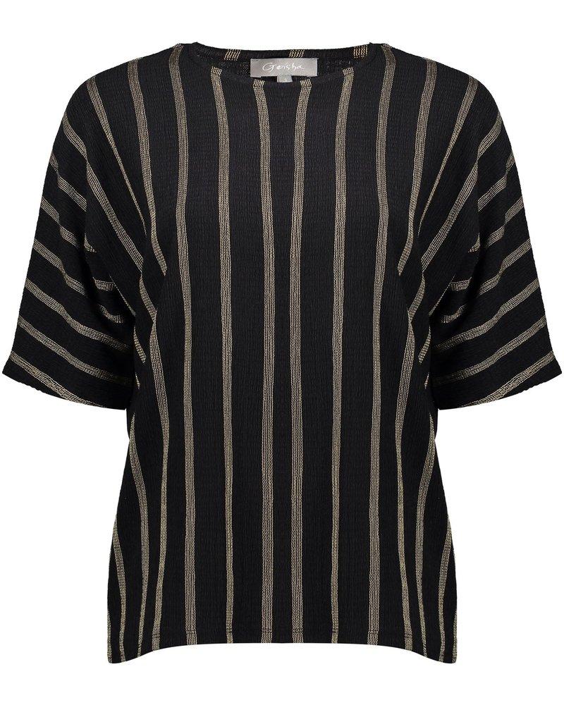GEISHA 03568-25 Top striped s/s black/sand combi