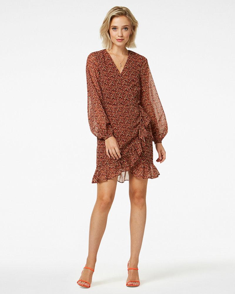 FREEBIRD Rosy ls brown mini dress long sleeve CONFETTI-PES-01
