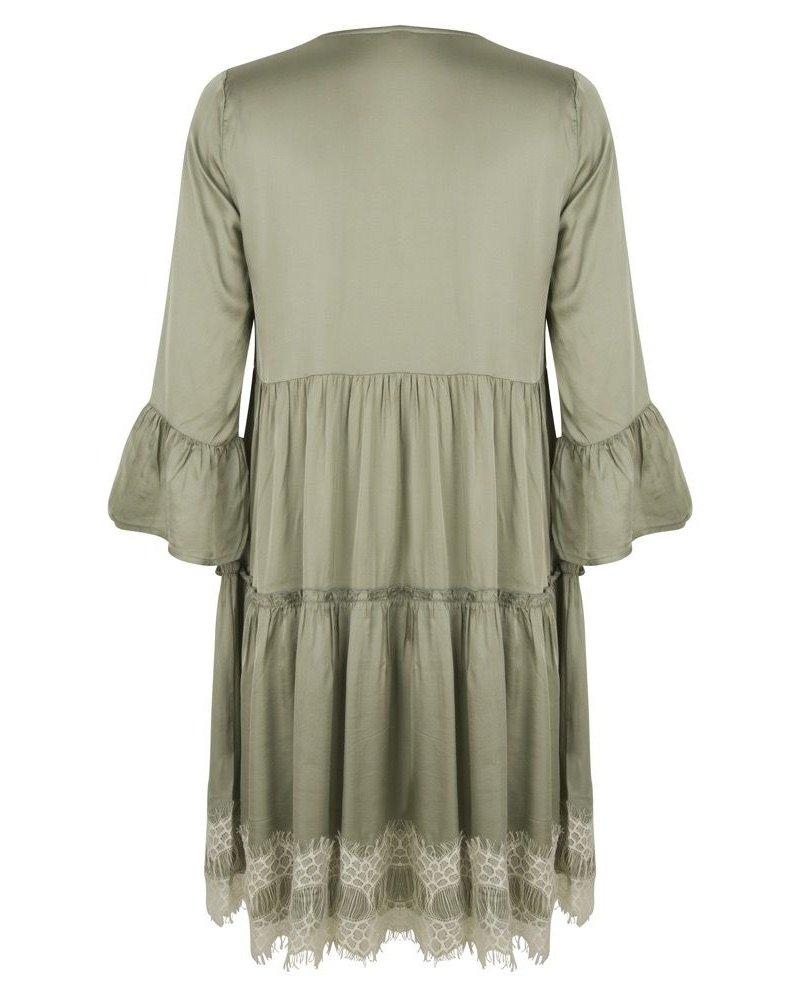 ESQUALO SP21.08000 Dress satin lace bottom light green