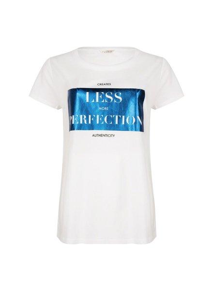 """ESQUALO SP21.05022 T-shirt foil print """"perfection"""" white/blue"""