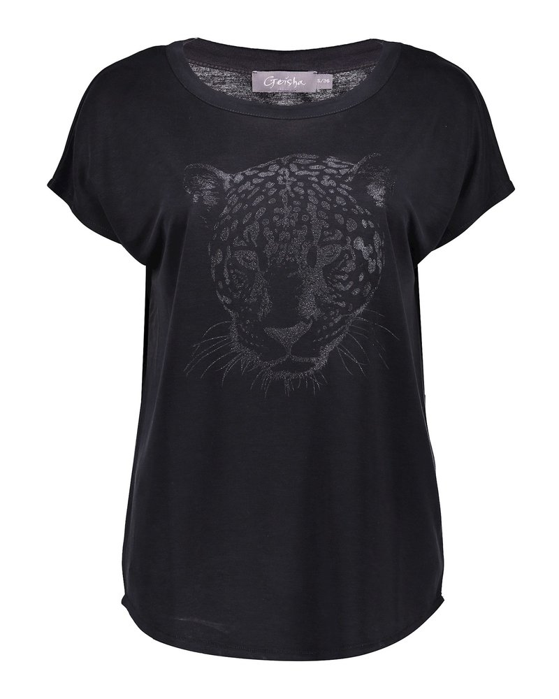 GEISHA 12087-25 T-shirt tiger head s/s anthracite