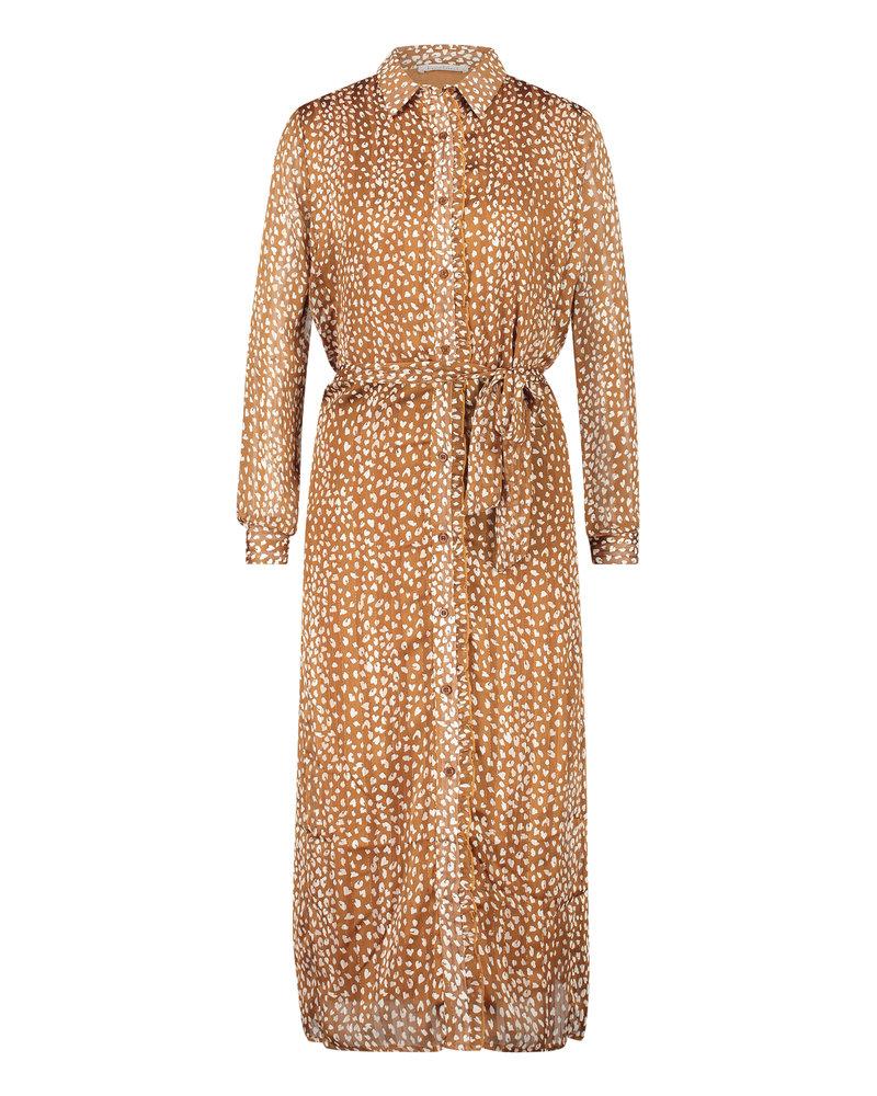 FREEBIRD Helen gold brown midi dress long sleeve HEART-PES-01