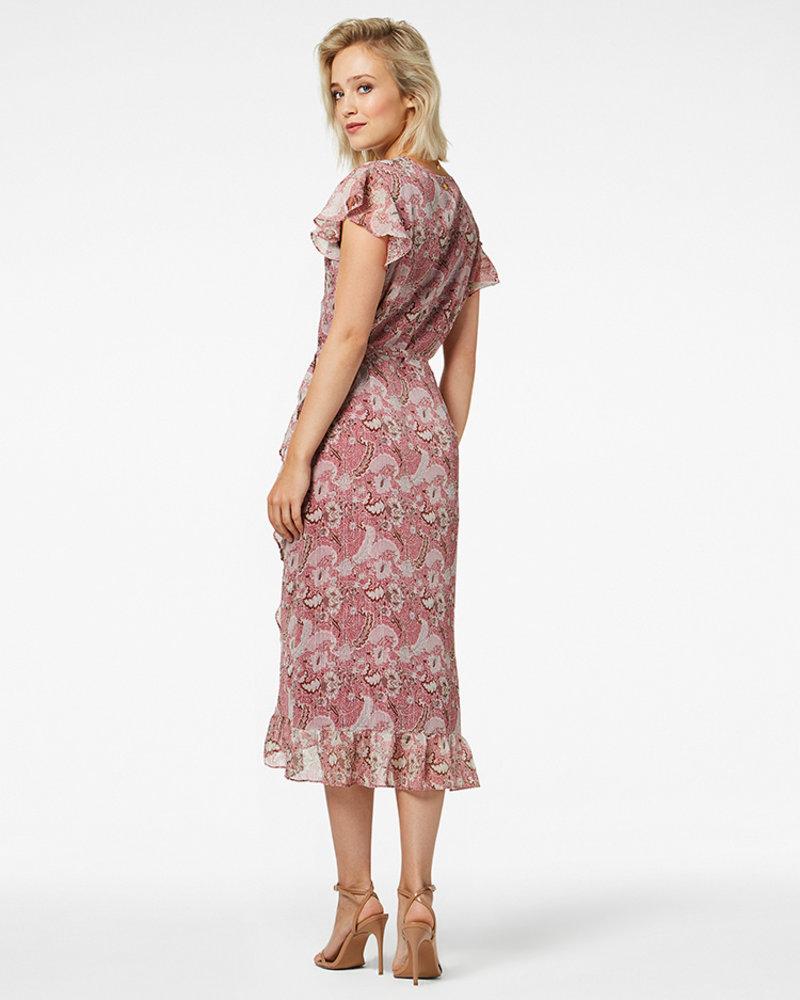 FREEBIRD Rosy midi burgundy midi dress short sleeve FLOWER-PES-01