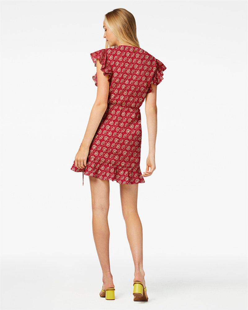FREEBIRD Rosy red mini dress short sleeve FLOWER-VIS-01