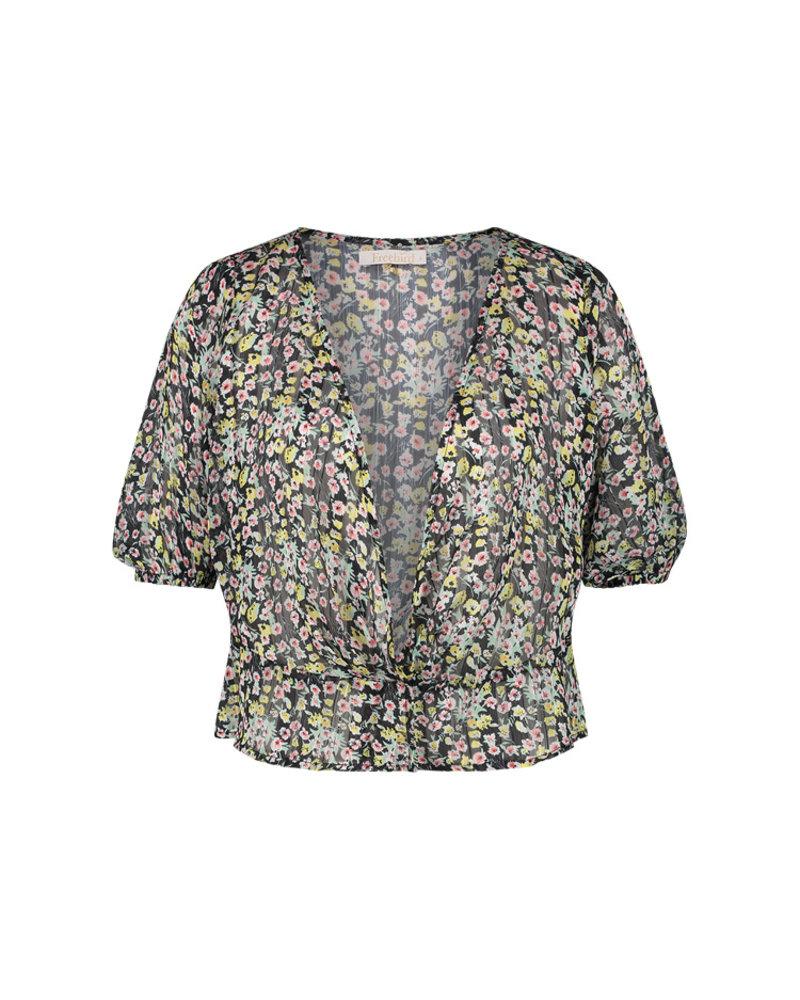 FREEBIRD Charley ss turquoise blouse short sleeve MINI-FLOWER-PES-02