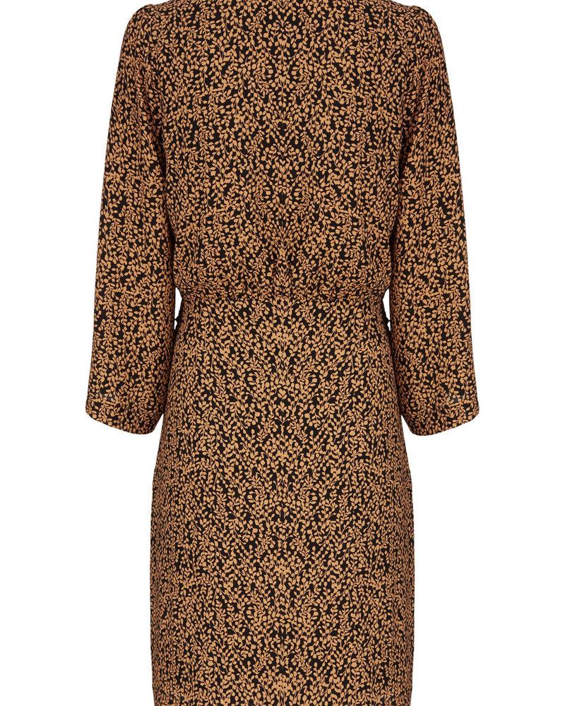 MODSTRÖM 55536 Isabella print dress, fashion dress apricot leaf