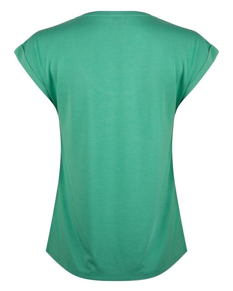 ESQUALO HS21.30213 T-shirt turn up sleeve jade