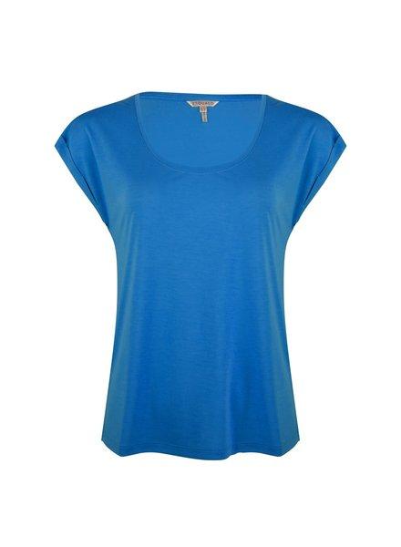 ESQUALO HS21.30213 T-shirt turn up sleeve bright aqua