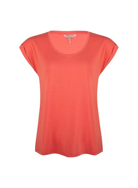 ESQUALO HS21.30213 T-shirt turn up sleeve coral