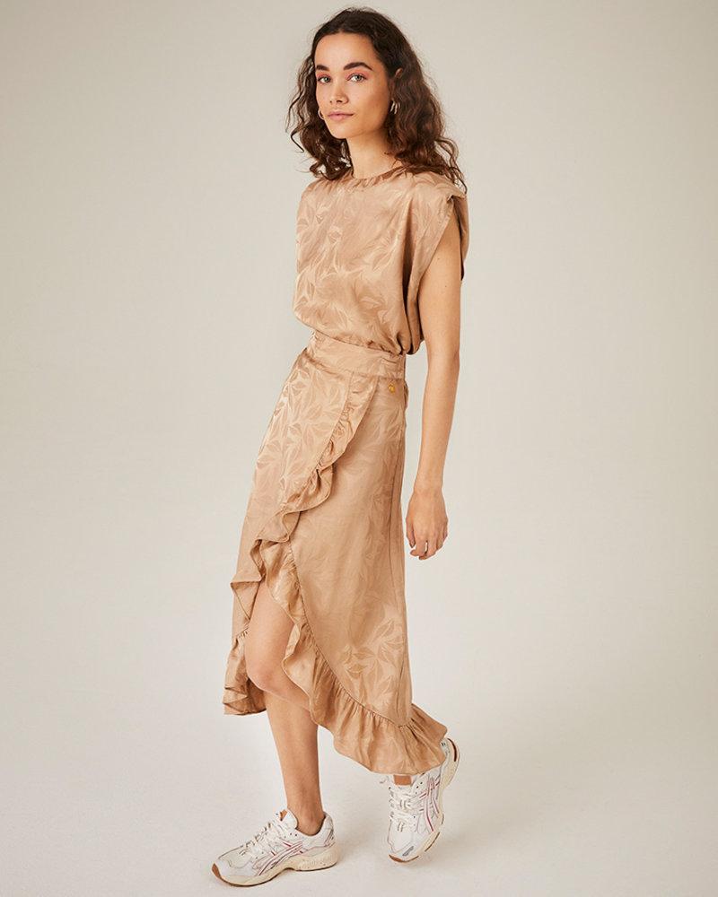 FREEBIRD Alina dark beige skirt leaf-jacq-vis-01