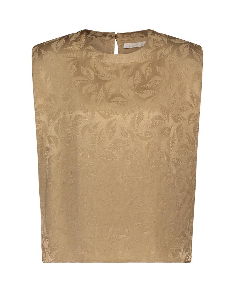 FREEBIRD Coos dark beige blouse leaf-jacq-vis-01