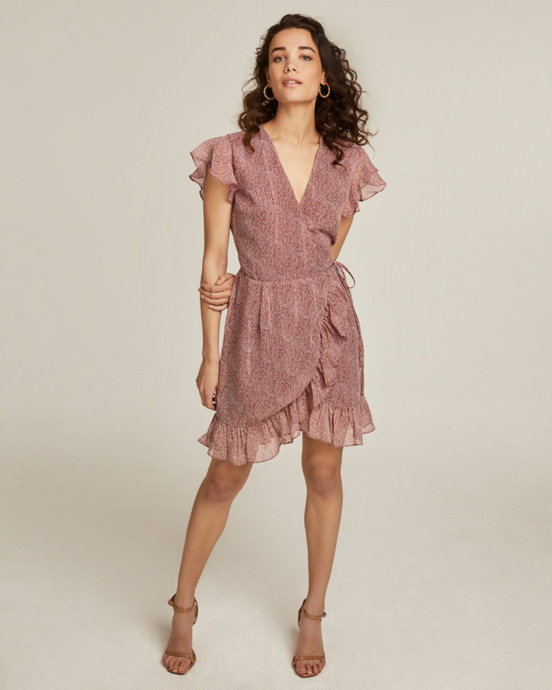 FREEBIRD Rosy red short sleeve mini dress ethnic-stripe-pes-01