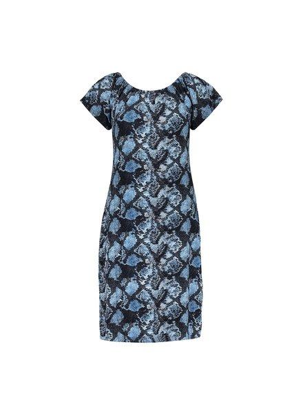 GEISHA 17391-60 may dress elastic neck s/s blue snake