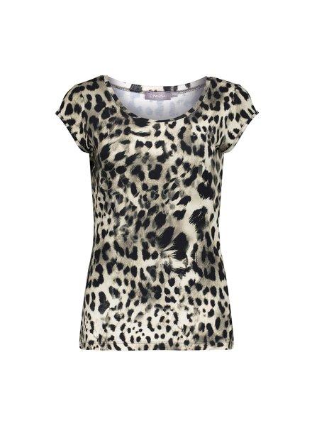 GEISHA 12423-60 kate t-shirt aop s/s sand/black leopard