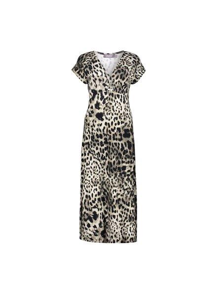 GEISHA 17395-60 jane dress long short sleeve sand/black leopard