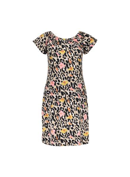 GEISHA 17391-60 may dress elastic neck s/s sand/pink leopard