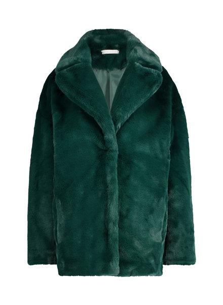 FREEBIRD Flury dark green coat fur-pes-21-3