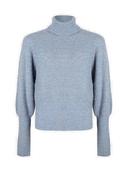 ESQUALO F21.31520 Sweater high cuffs azure blue