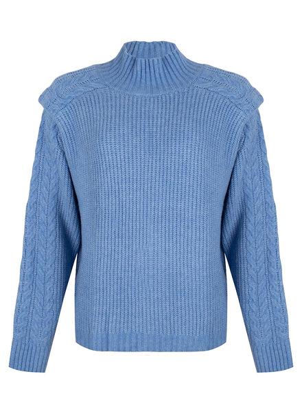 ESQUALO F21.31506 Sweater cable shldr detail azure blue