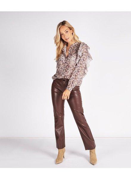 ESQUALO F21.11504 Trousers 5pocket wide pu chocolate