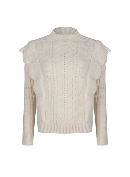 ESQUALO F21.02506 Sweater shoulder ruffle ivory