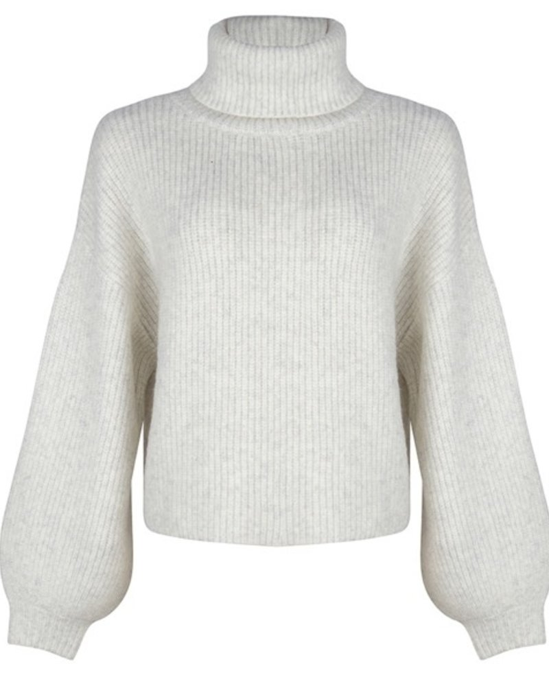 ESQUALO F21.07503 Sweater cropped ballon slv light grey