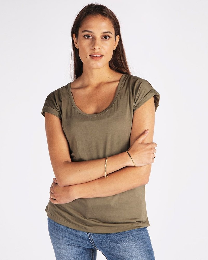 ESQUALO F21.30518 T-shirt turn up sleeve dusky green