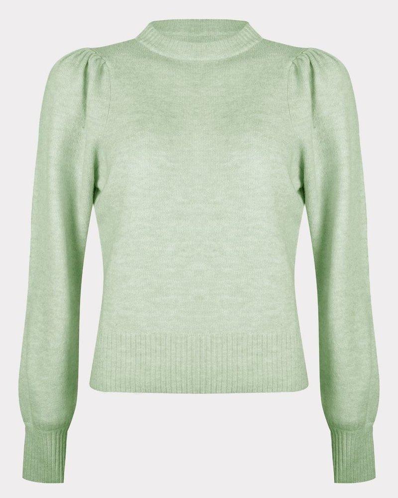 ESQUALO F21.07522 Sweater gathering slv soft green