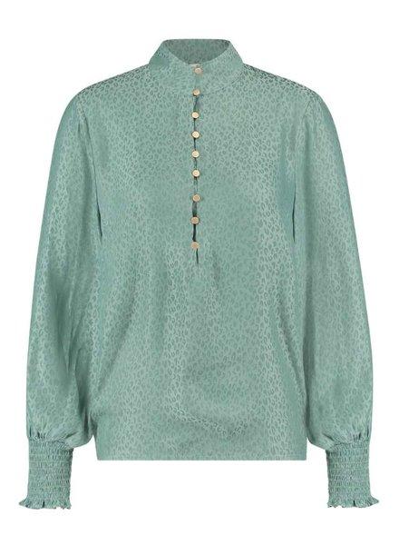 FREEBIRD Rayna green blouse animal-vis-21-3