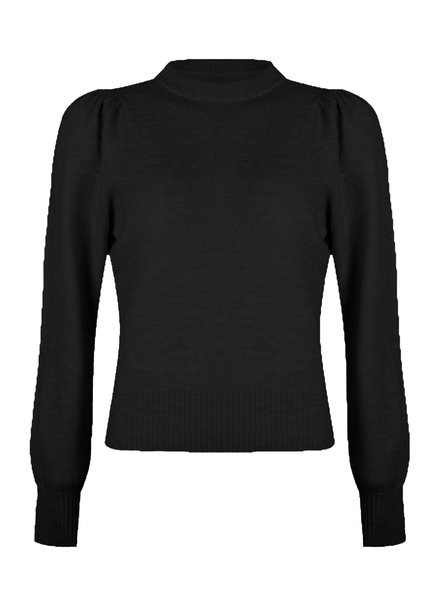ESQUALO F21.07522 Sweater gathering slv black