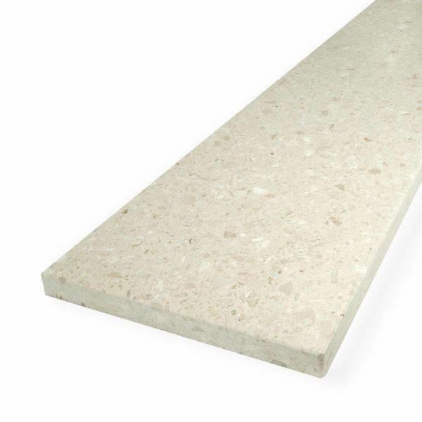 Vensterbank composiet Perlato - OP MAAT - 2 cm dik - 10-70 cm breed - 10-230 cm lang -  Gepolijst marmer composiet beige / licht bruin