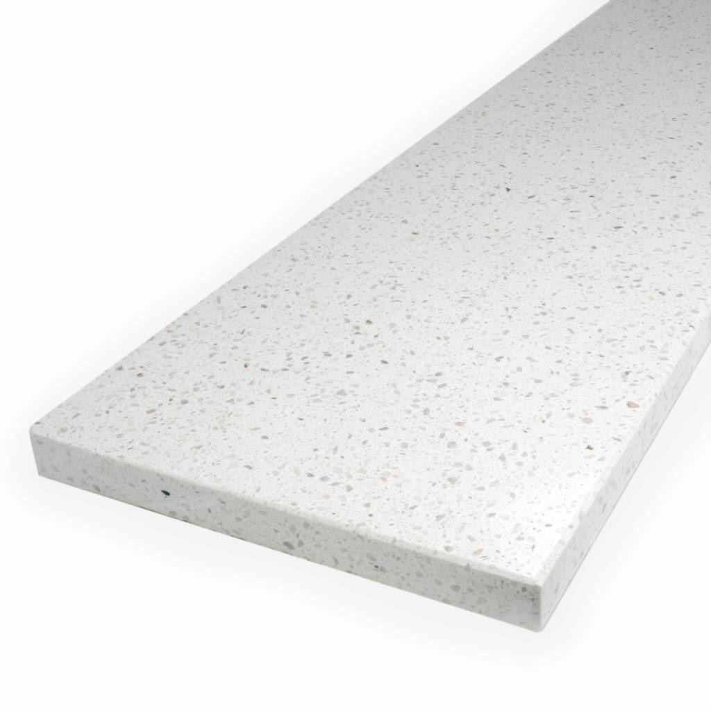 Vensterbank composiet Bianco L - OP MAAT - 2 cm dik - 10-70 cm breed - 10-230 cm lang -  Gepolijst marmer composiet wit