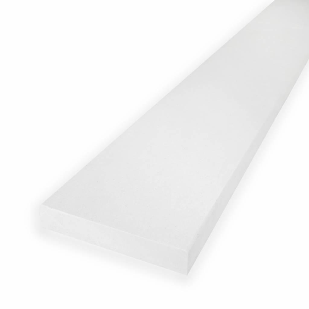 Dorpel composiet Polare wit - OP MAAT - 2 cm dik - 2-25 cm breed - 10-230 cm lang -  Binnen(deur)dorpel gepolijst marmer composiet wit