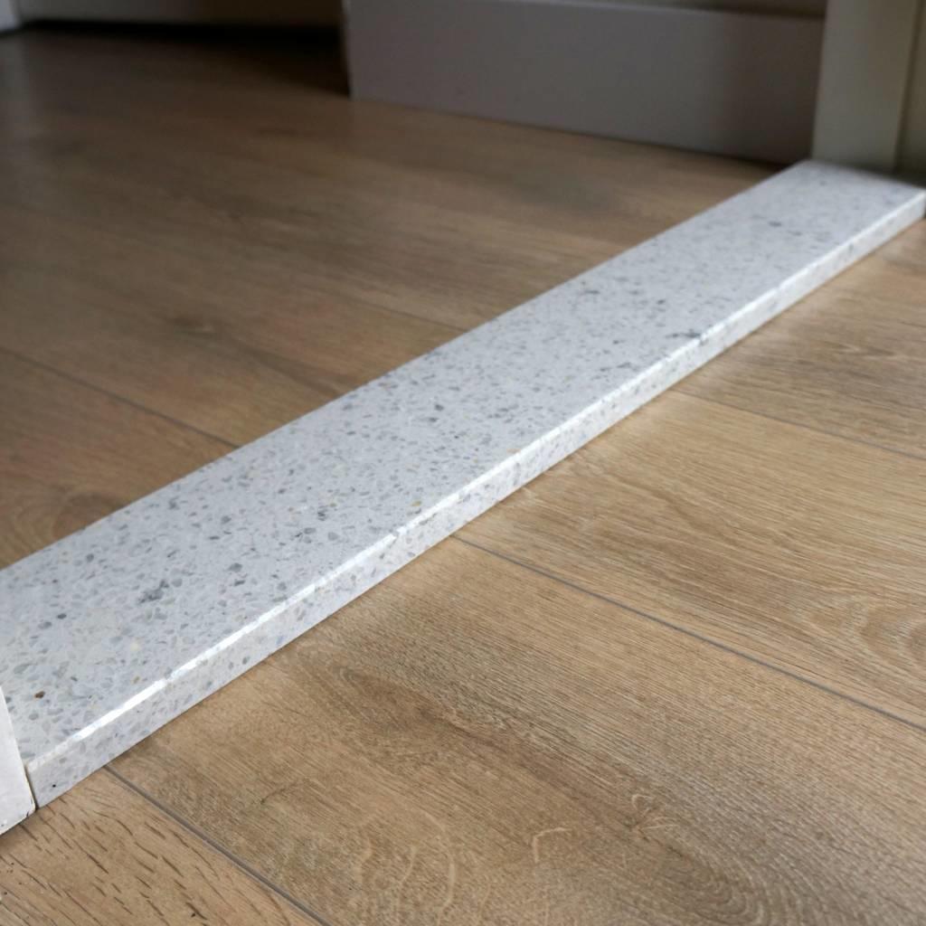 Dorpel composiet Bianco L - OP MAAT - 2 cm dik - 2-25 cm breed - 10-230 cm lang -  Binnen(deur)dorpel gepolijst marmer composiet wit