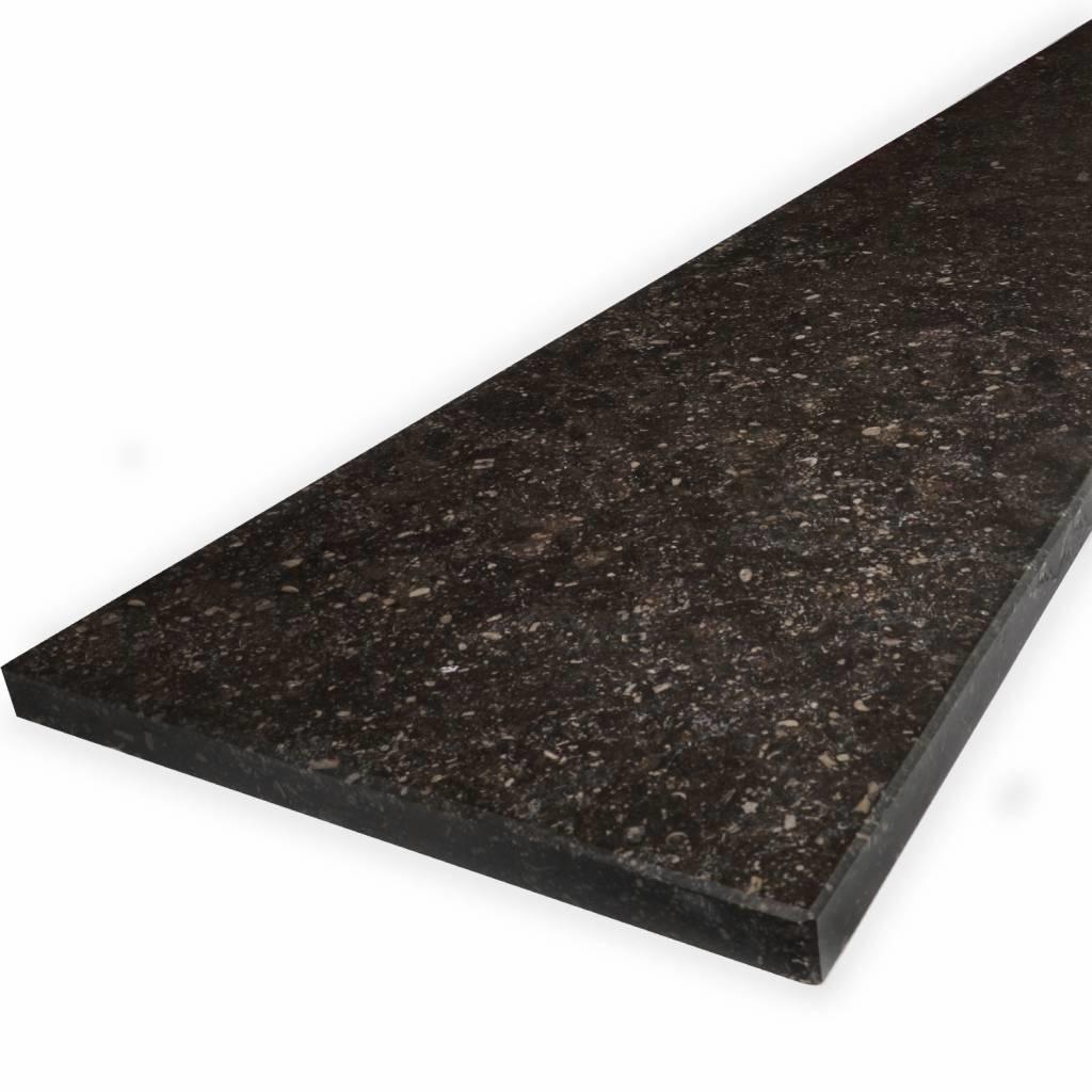 Vensterbank Belgisch hardsteen donker gezoet 2 cm dik - OP MAAT- 10-70 cm breed - 10-230 cm lang - Antraciet - Belgisch hardsteen - arduin