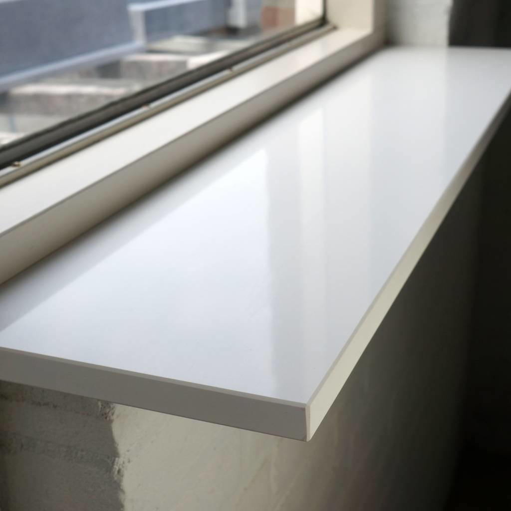 Vensterbank kwartscomposiet wit - OP MAAT - 2 cm dik - 10-70 cm breed - 10-230 cm lang -  Gepolijst quartz composiet