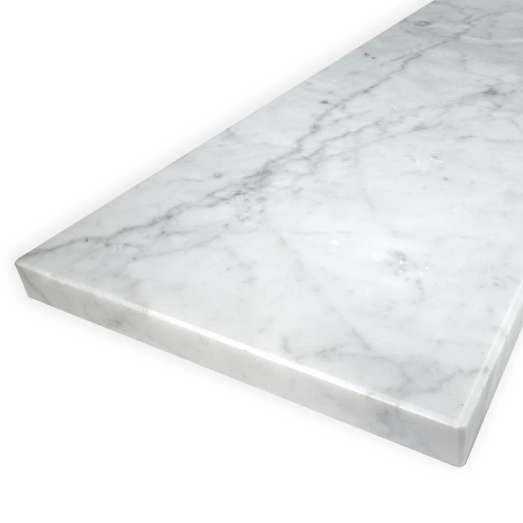 Vensterbank Bianco Carrara marmer gezoet - 2 cm dik - OP MAAT - 10-70 cm breed - 10-230 cm lang -  wit marmer