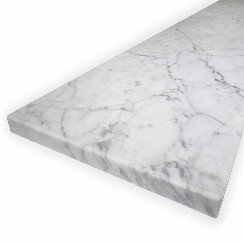 Vensterbank Bianco Carrara marmer gepolijst - 3 cm dik - OP MAAT - 10-70 cm breed - 10-240 cm lang -  wit marmer