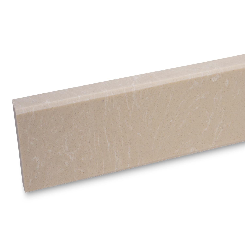 Plint composiet Crema Marfil 2 cm dik - OP MAAT-  5-25 cm breed - 50-120 cm lang - Muurplint gepolijst marmer composiet zandkleurige marmerlook
