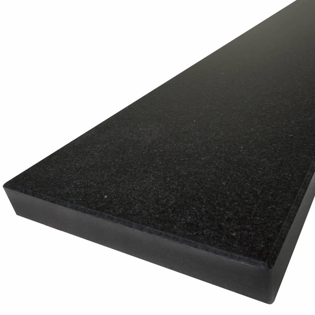 Vensterbank Nero Assoluto graniet gepolijst 2 cm dik - OP MAAT- 10-70 cm breed - 10-240 cm lang - Absolute black zwart graniet