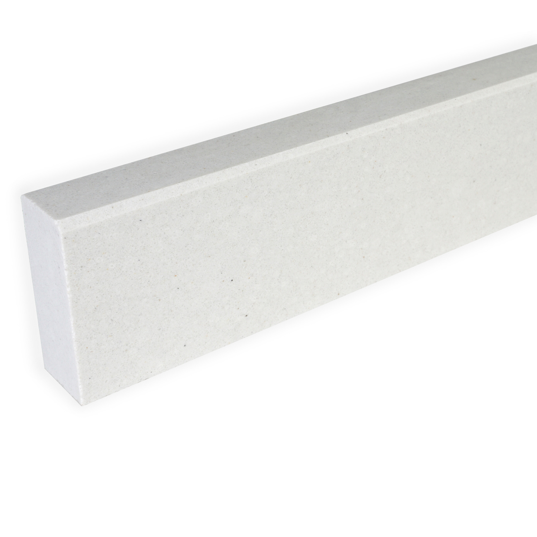 Plint composiet off white 1 cm dik - OP MAAT-  5-10 cm breed - 50-120 cm lang - Muurplint gepolijst marmer composiet