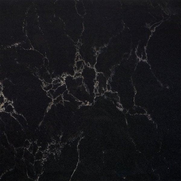 Plint kwartscomposiet zwart marmer look 2 cm dik - OP MAAT