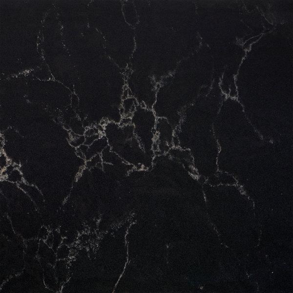 Sample Kwartscomposiet (quartz) Zwart marmer look 10x10x2 cm