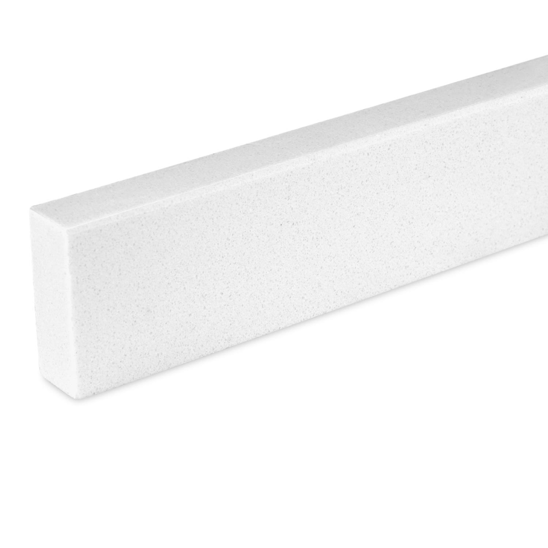 Plint composiet White 1 cm dik - OP MAAT-  5-25 cm breed - 50-120 cm lang - Muurplint gepolijst marmer composiet wit