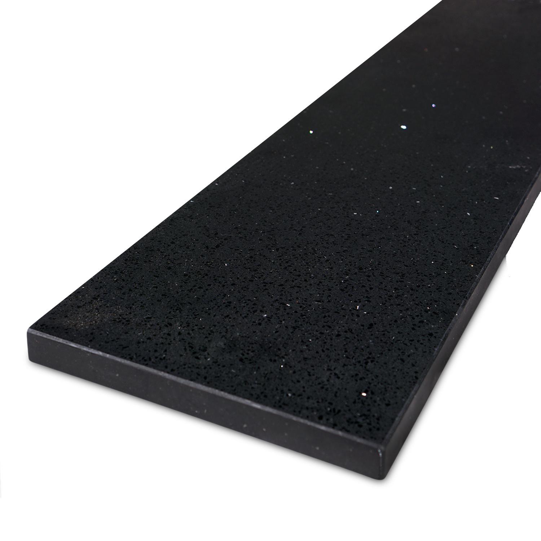 Vensterbank kwartscomposiet zwart spark - OP MAAT - 2 cm dik - 10-70 cm breed - 10-230 cm lang -  Gepolijst quartz composiet zwarte natuursteen look met glitter